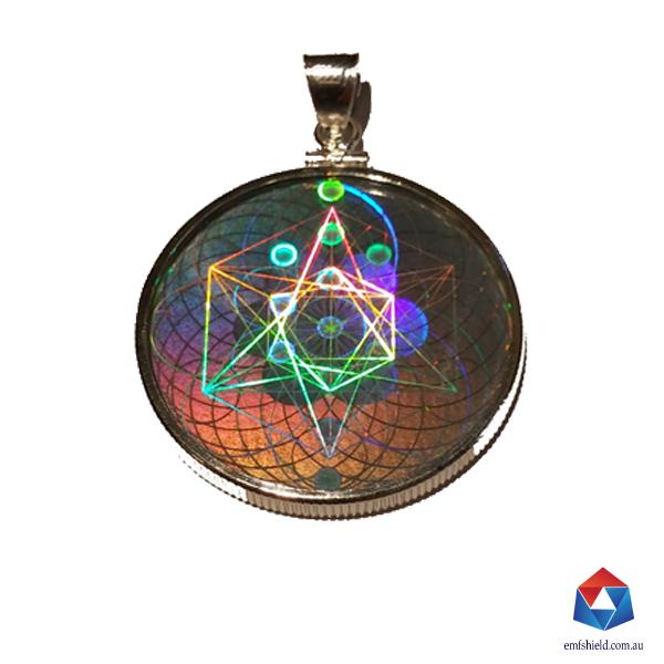 Sacred geometry hologram emf radiation protection pendant emf shield glass pendant aloadofball Choice Image